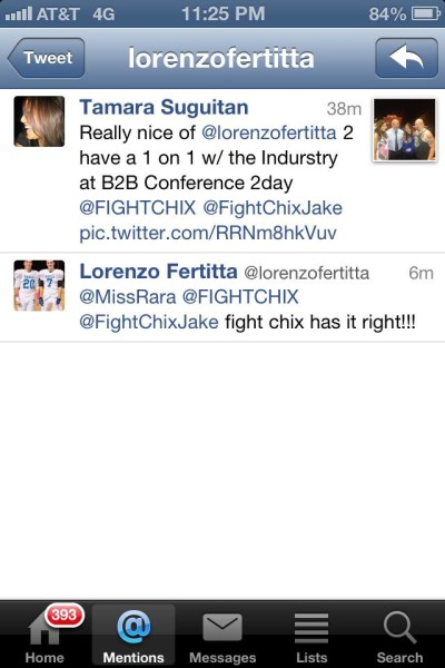 The Tweet from Lorenzo Fertitta after the B to B conference at the Fan Expo
